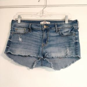 Hollister Light Wash Distressed Cutoff Jean Shorts